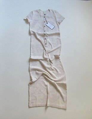 NWT GM Studio The Vintage Maxi in Stone Dirty White Ribbed Henley Dress M $189