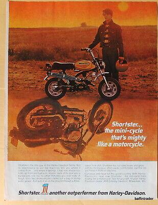 Vintage Magazine Print Ad 1972 Harley-Davidson Shortster mini-cycle 8 x 11