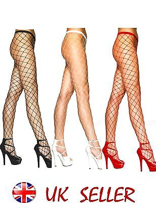 - Sexy Fishnet Diamond Net Fencenet Tights Black Red White size 8-14