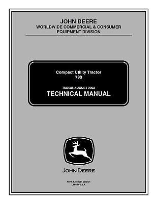 John Deere 790 Compact Utility Tractor Service Repair Technical Manual - Tm2088