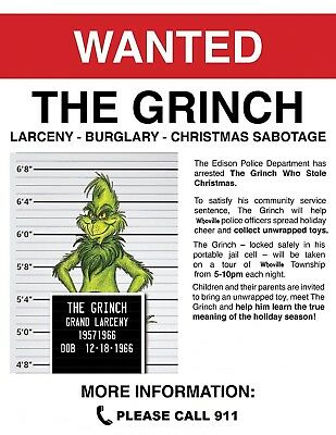 1966 How The Grinch Stole Christmas > Wanted Poster > Boris Karloff > Dr. Suess
