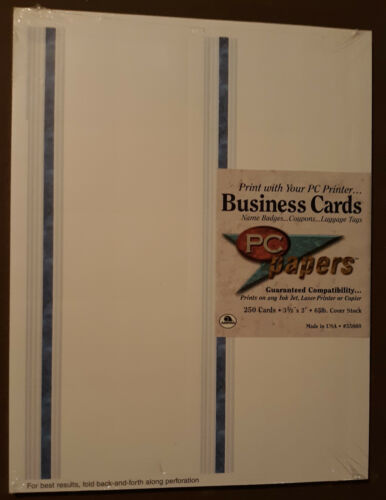 PC papers By Ampad Print Your Own Business Cards of 250 Brand New