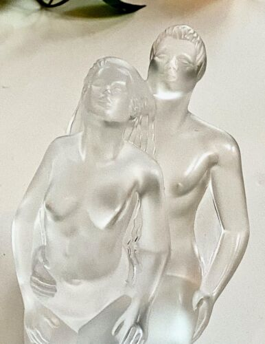 Lalique Entwined Nude Dancers (Danseurs En Laces) Mint. Signed French Crystal