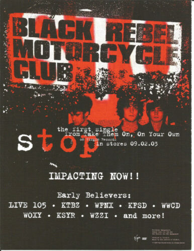 BLACK REBEL MOTORCYCLE CLUB Rare Stop PROMO TRADE AD Poster for 2003 CD MINT USA