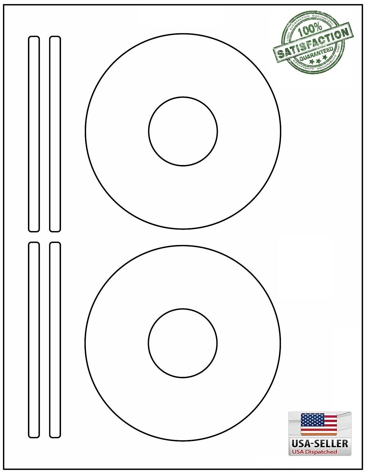 200 CD/ DVD Laser and Ink Jet Labels - Template 5931, 8931, 8692 -100 Sheets