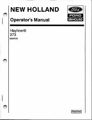 New Holland 273 Square Baler Operator Manual 42027315