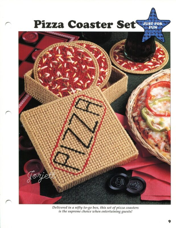 Pizza Coaster Set & Delivery Box Holder plastic canvas pattern leaflet