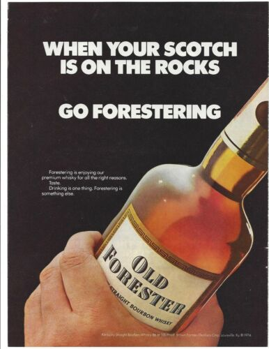 "Old Forester Kentucky Bourbon 1976 Original Print Ad 9 x 11"" Playboy Magazine"