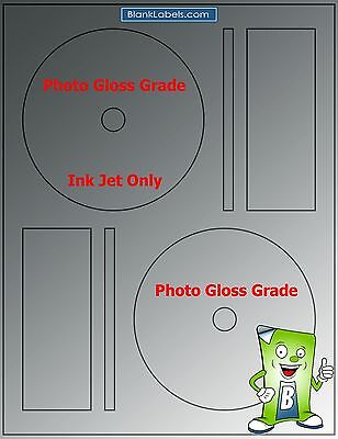 200 Photo Glossy Ink Jet Labels Fits Full Memorex 100 Sheets Cd Dvd High Gloss