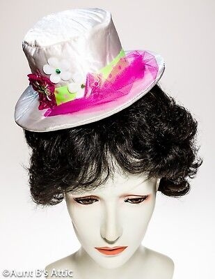 Clown Mini Top Hat Fun Novelty Wht Fabric Over Foam Decorated Hat On A Headband