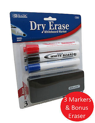 3pk Dry Erase White Board Markers Chisel Point Tip Wbonus Eraser Blue Red Black