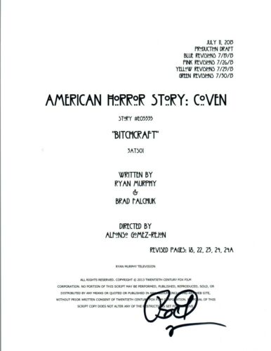 Bradley Buecker Signed AMERICAN HORROR STORY COVEN Script Director Producer COA