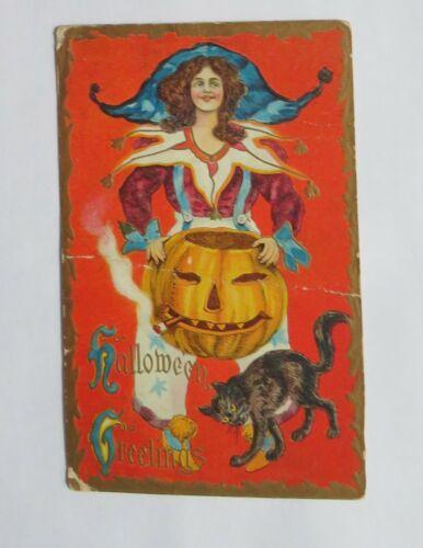 VTG Halloween Postcard Jester Woman With Cigar Smoking Jack-O-Lantern  & Cat