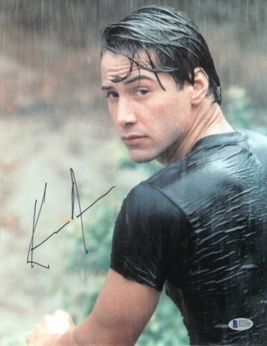 KEANU REEVES SIGNED 11X14 PHOTO 'POINT BREAK' AUTHENTIC AUTOGRAPH BAS BECKETT 07