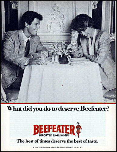 1986 Couple dining drinks Beefeater English Gin vintage photo print ad ads50