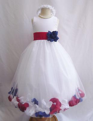 Petal Flower Girl Dress Red white royal blue spring formal fancy party ](Flower Girl Red And White Dresses)
