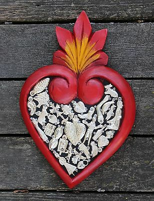 #3 Med Hand Carved Red wood Heart Milagros Folk Art Michoacán Mexico Love Token