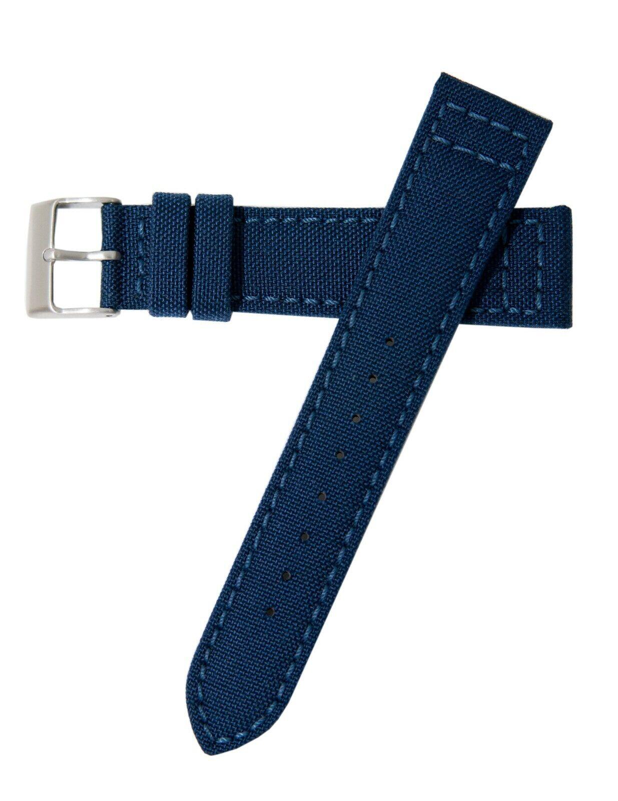 22mm Hadley-Roma MS850 Mens Navy Cordura Canvas Watch Band S