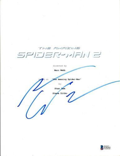 Andrew Garfield Signed Autograph THE AMAZING SPIDER-MAN 2 Script Beckett BAS COA