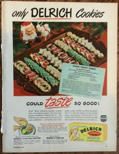 Delrich margarine cookies 1949 vintage ad 1940s retro art holiday food recipe