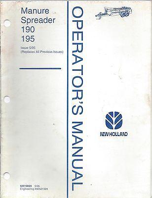 New Holland Manure Spreader 190 195 Operators Manual 42019024 51995