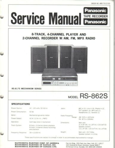 PANASONIC SERVICE MANUAL FOR RS-862S