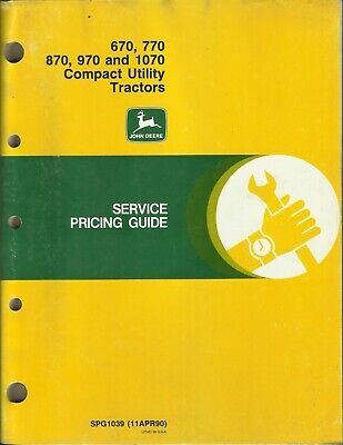 John Deere Compact Utility Tractors 670 770 870 970 1070 Spg1039 Pricing Guide