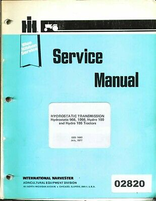 International 966 1066 100 186 Hydro Tractor Hydrostatic Service Repair Manual