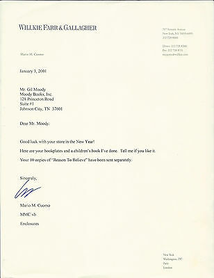MARIO CUOMO, politician, AUTHENTIC HAND SIGNED TYPED LETTER