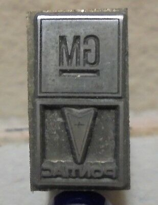 Vintage Printing Letterpress Printers Block Cut Pontiac Gm Logos