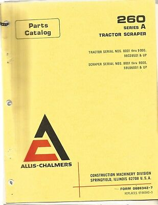 Allis-chalmers 260 Series A Tractor Scraper Parts Manual