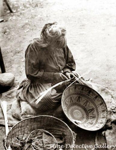 Yokut Indian woman Weaving a Basket, California - c1900 - Historic Photo Print