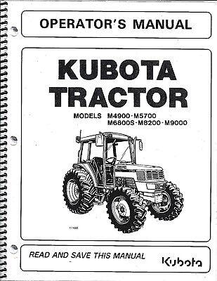 Kubota M4900 M5700 M6800 M8200 M9000 Tractor Operators Manual Wcab 3a841-99710