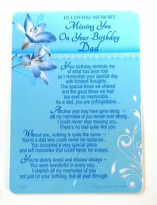 In Loving Memory Missing You On Your Birthday Dad Grave Side Memorial Card