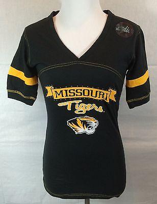 Missouri Tigers Mu Mizzou Womens T Shirt Sz S   Nwot Black Gold  Rhinestones