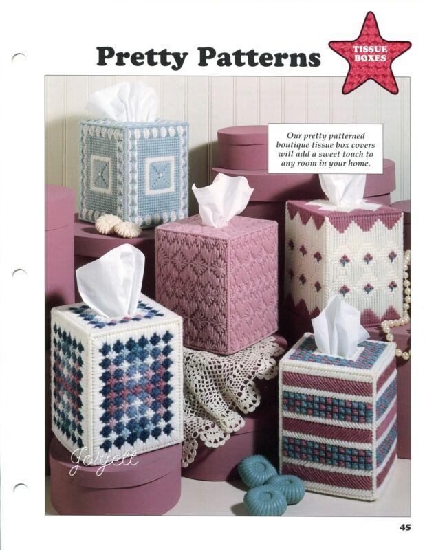 Pretty Patterns ~ 5 Boutique Tissue Box Covers plastic canvas pattern leaflet