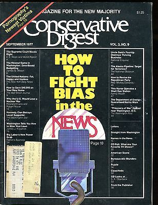 Conservative Digest Magazine September 1977 Bias In The News Vg W Ml 010517Jhe