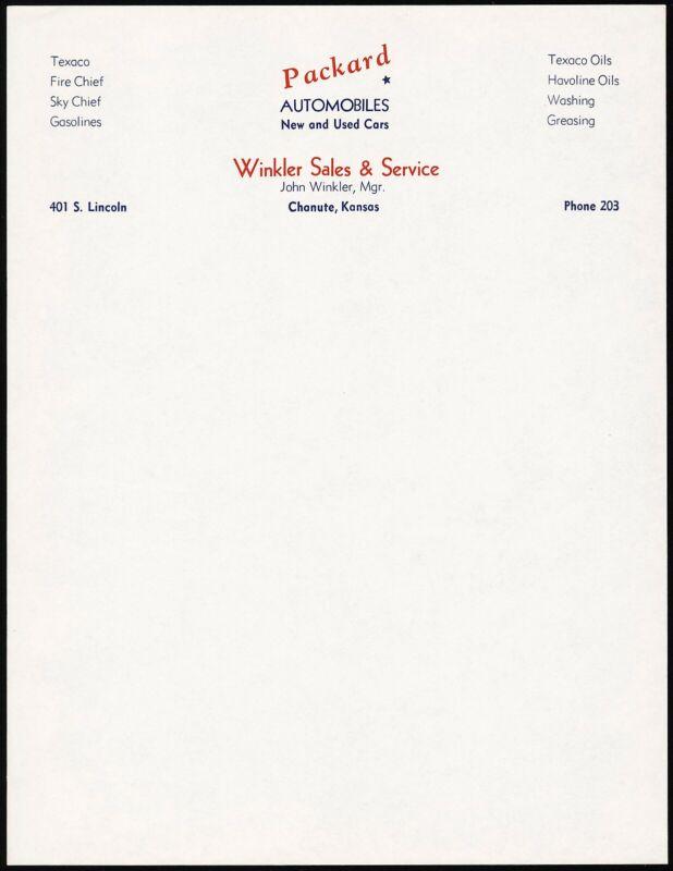 Vintage letterhead PACKARD AUTOMOBILES Winkler Sales Texaco Chanute Kansas nrmt