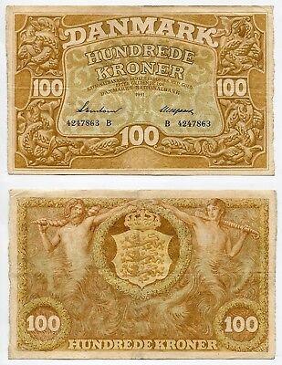 100 Kroner Dänemark 1941  Prefix B, Erhaltung III  Pick 33c