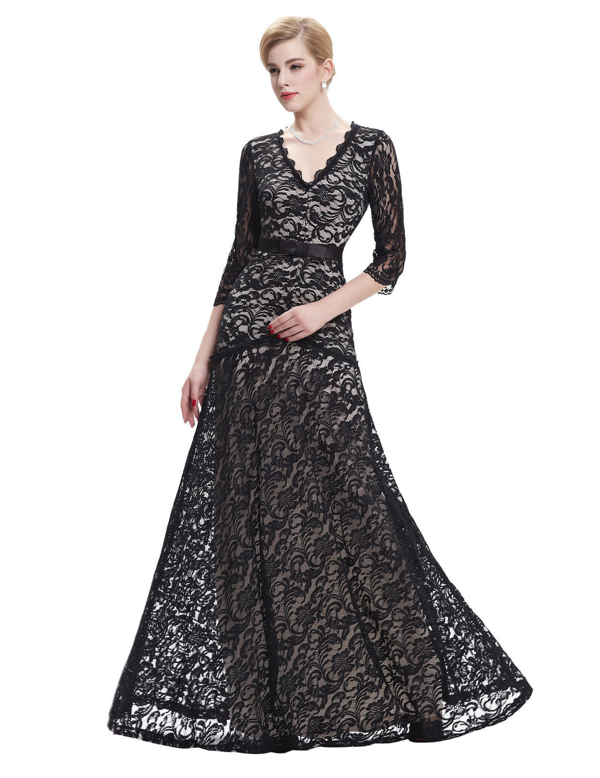 Formal Lace 3/4 Sleeve Evening Ball Gown
