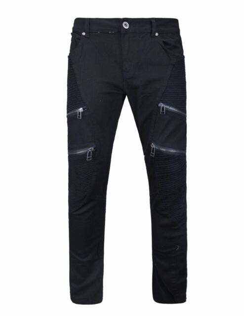Mens Pants Biker Denim Fashion ZIPPER SKINNY Fit Distressed Ripped ...