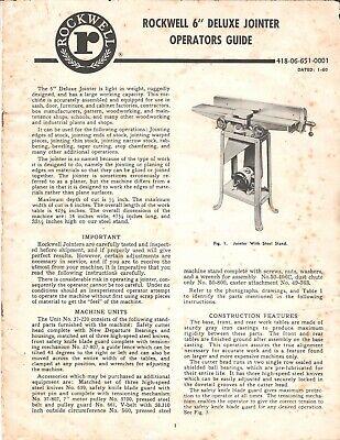 Rockwell 6 Inch De Luxe Jointer Operators Guide Operators Manual Cd