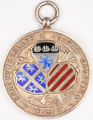 Prize silver medal fob Northeast Northumberland & Durham ASA Water Polo 1910 VGC