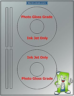 200 Photo Glossy Ink Jet Labels Fits Size 5931 - 100 Sheets Cd Dvd High Gloss