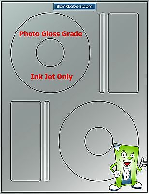50 Photo Glossy Ink Jet Labels - Fits Memorex - 25 Sheets Cd Dvd High Gloss