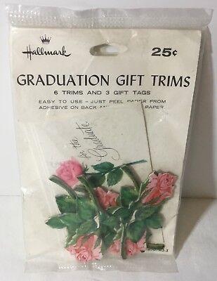 Vtg NOS Hallmark Graduation Gift Trims Beautiful Adhesive Roses Stems NISP Tags  Hallmark Gift Trim