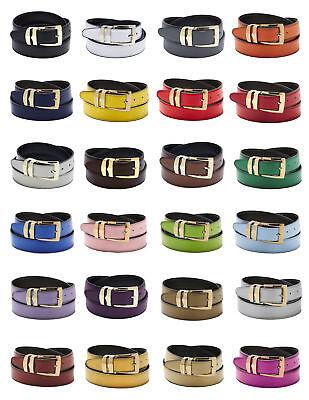Men's Belt Reversible Bonded Leather Belts Gold-Tone Buckle