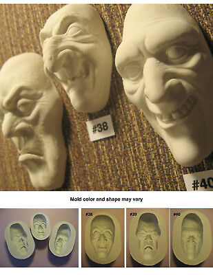 YOUR CHOICE - Flexible Silicone Molds of Doll Face Cabs - Witch, Ghoul, Zombie](Zombie Witch)