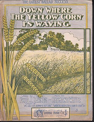 Down Where the Yellow Corn is Waving 1905 Large Format Sheet Music