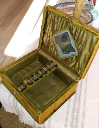 Antique Velvet Jewelry Box satin Lining Bevel edge mirror